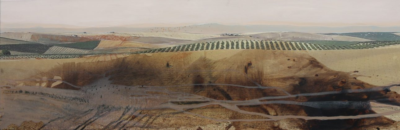 Almbauer, Gerhard_ Bei Ronda_2020_Collage, Mischtechnik auf Leinwand, 150 x 50 cm