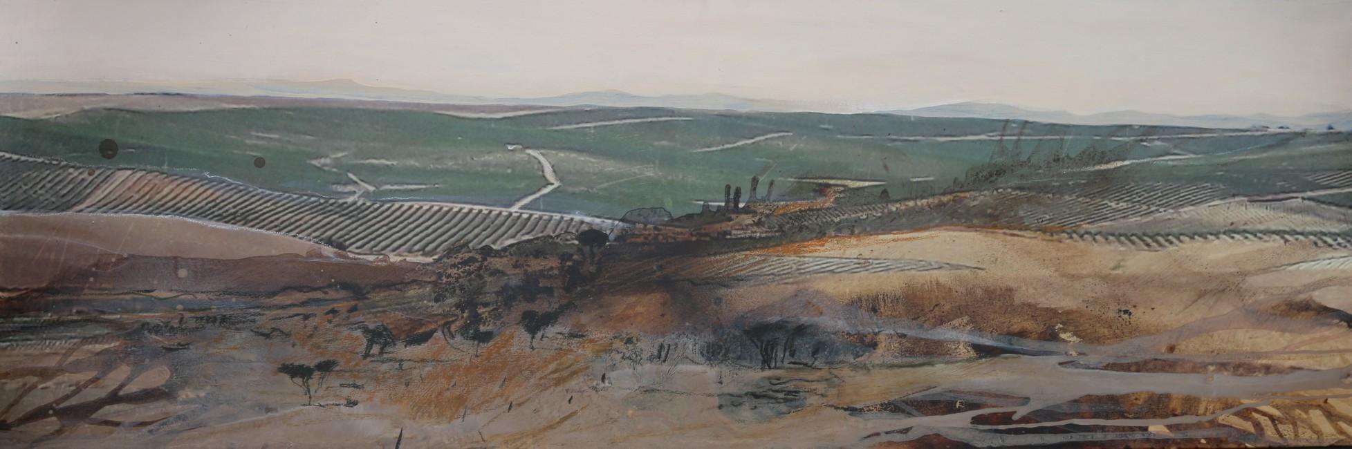 Almbauer, Gerhard_Andalusien_150 x 150 cm_Collage, Mischtechnik auf Leinwand
