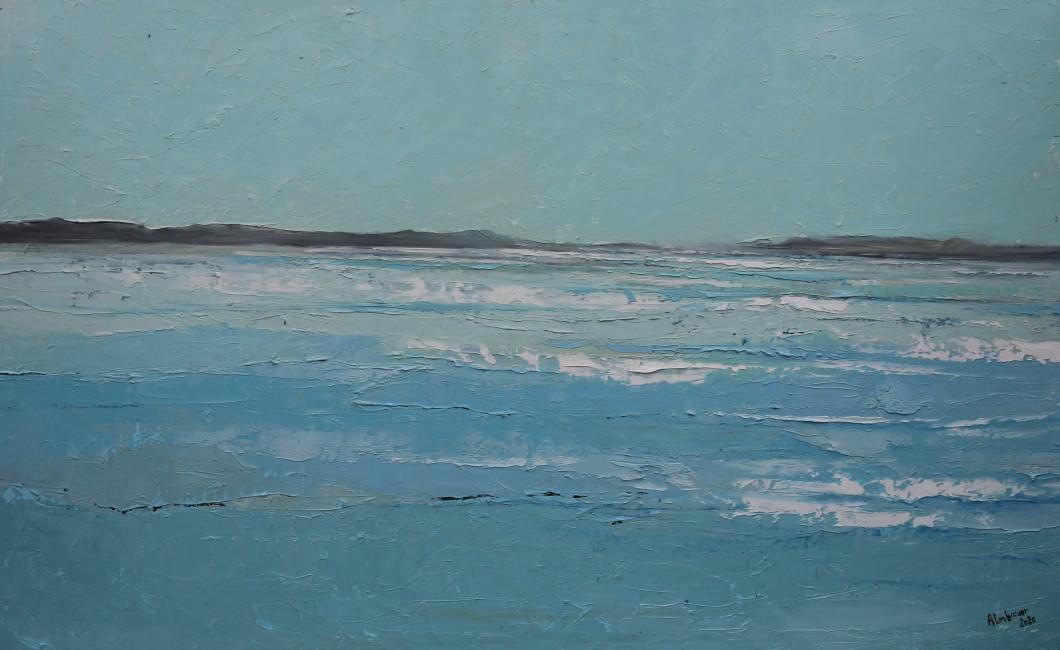 Almbauer, Gerhard_Blaue Landschaft_2020_Öl auf Leinwand_160 x100 cm